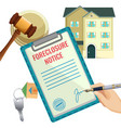 foreclosure process house selling due bank vector image