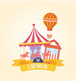 fun fair carnival carousel air balloon and ticket vector image vector image