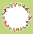 Funny Animals card template White circle on light vector image vector image