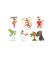 funny christmas characters for winter holidays vector image