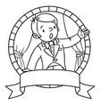 Funny singer or vocalist coloring book or emblem vector image