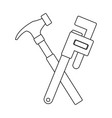 hammer and adjustable wrench tools repair vector image vector image