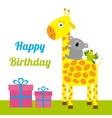 happy birthday card with cute giraffe koala vector image