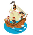 happy pirates sailing in their pirate ship vector image