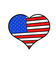 heart in usa flag colors icon cartoon vector image