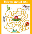 help the cow get home vector image