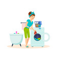 housewife in bathroom cleaned things and washed vector image vector image