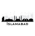 islamabad city skyline black and white silhouette vector image vector image