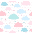 Kids background with clouds and stars vector image vector image