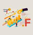 letter f finance flyer people profit work vector image