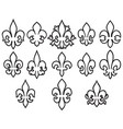 lily flowers thin line icons set- heraldic symbol vector image