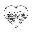 line boy and girl with glasses inside heart design vector image