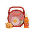 lunch box with egg sausage vegetables cookie vector image vector image