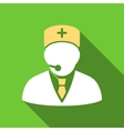 Medical Manager Flat Long Shadow Square Icon vector image vector image