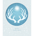 merry christmas greeting card with antler vector image vector image