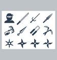 ninja and weapons icon set vector image
