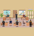 office interior with employee and boss teamwork vector image vector image