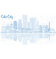 outline cebu city philippines skyline with blue vector image vector image