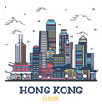 outline hong kong china city skyline with modern vector image vector image