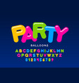 party balloons style font design helium balloons vector image vector image