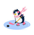 penguin in scarf playing hockey vector image