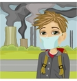 schoolboy wearing mask against polluted city vector image