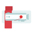 sewing machine with cloth top view flat isolated vector image
