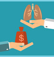 Transplant lungs patient hand hold money doctor