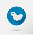 trendy round blue twitter bird social media web vector image vector image