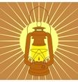 Vintage mine kerosene lamp over yellow sunrise vector image