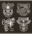 vintage monochrome custom motorcycle prints vector image vector image