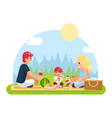 weekend family vacation on nature food flat design vector image vector image