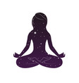 woman is sitting in lotus posture vector image
