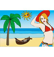 woman on the beach with a red hat vector image
