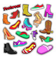 womens fashion shoes and boots set for stickers vector image vector image