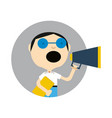 young boy in glasses with megaphone icon vector image vector image