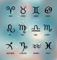 Zodiac signs Set of simple zodiac with captions vector image vector image