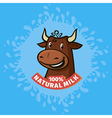 fresh natural milk emblem vector image
