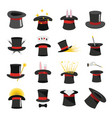 magician hat sorcery icons set flat style vector image