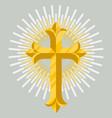 golden catholic cross icon isolated vector image