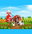 animals farm playing at cattle warehouse vector image