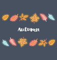 autumn leaves frame on dark background vector image vector image