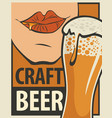 banner for craft beer with glass beer vector image