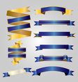 Blue with gold ribbon vector image