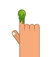 booger and hand snot on finger pick your nose vector image vector image