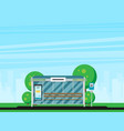 bus stop with city skyline flat design style vector image vector image