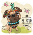 cartoon tribal pug dog and with a feather vector image vector image