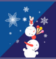 christmas card with snowmen and mouse vector image vector image