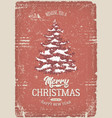 christmas greeting card with grunge texture vector image