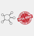 contour node links icon and grunge virtual vector image vector image